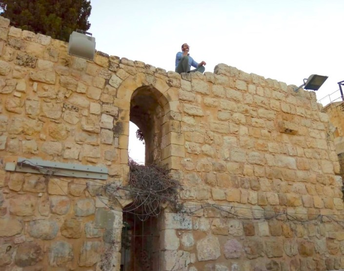 A Rova boy spotted on the ruins of a crusader structure.. picture by my neighbour Y. Bencamoun, who captured me in contemplation